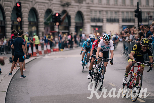 Geraint Thomas (GBR/SKY) in Regent Street <br /> <br /> Stage 8: London to London (77km)<br /> 15th Ovo Energy Tour of Britain 2018