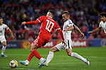 Cardiff - UK - 6th September :<br />Wales v Azerbaijan European Championship 2020 qualifier at Cardiff City Stadium.<br />Azerbaijan Captain Maksim Medvedev denies Harry Wilson of Wales alongside the goal in the first half.<br /><br />Editorial use only