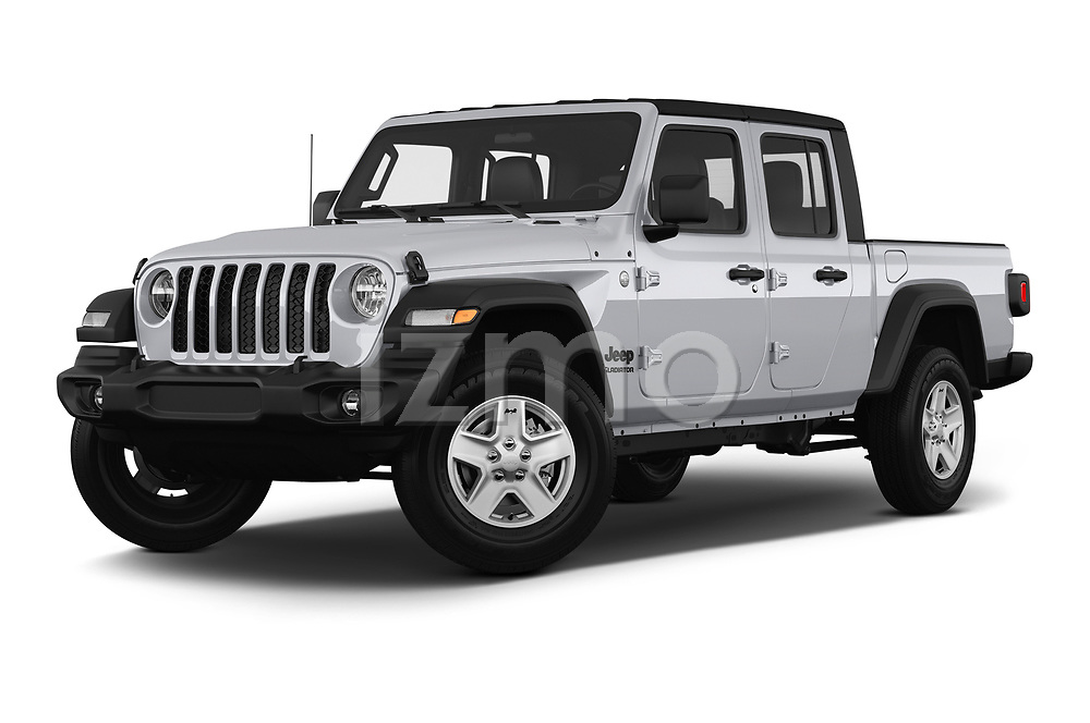 Stock pictures of low aggressive front three quarter view of 2020 JEEP Gladiator Sport-S 4 Door Pick-up Low Aggressive