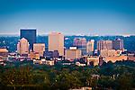 Dayton OHio Skyline in evening, color.