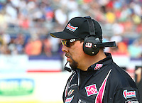 Mar 15, 2015; Gainesville, FL, USA; Crew chief Richard Hartman for NHRA funny car driver Tim Wilkerson (not pictured) during the Gatornationals at Auto Plus Raceway at Gainesville. Mandatory Credit: Mark J. Rebilas-