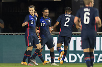 FORT LAUDERDALE, FL - DECEMBER 09: Sebastian Lletget #17  Brenden Aaronson #8 of the United States celebrates the goal with his teammates during a game between El Salvador and USMNT at Inter Miami CF Stadium on December 09, 2020 in Fort Lauderdale, Florida.