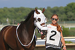 September 1, 2014: Smarty Jones Stakes contender Classic Giacnroll enters the paddock. Protonico, Joe Bravo up, wins the grade 3 Smarty Jones Stakes at Parx Racing in Bensalem, PA. Trainer is Todd Pletcher. Owner is International Equities Holding, Inc. ©Joan Fairman Kanes/ESW/CSM