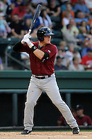 Third baseman Matt Oberste (23) of the Savannah Sand Gnats in a game against the Greenville Drive on Thursday, June 19, 2014, at Fluor Field at the West End in Greenville, South Carolina. Savannah won, 6-3. (Tom Priddy/Four Seam Images)