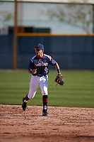 Harold Coll (4) of Cathedral High School in Hyde Park, Massachusettes during the Baseball Factory All-America Pre-Season Tournament, powered by Under Armour, on January 13, 2018 at Sloan Park Complex in Mesa, Arizona.  (Mike Janes/Four Seam Images)