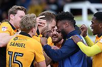 Mickey Demetriou of Newport County celebrates scoring his sides first goal of the match with Jennison Myrie-Williams of Newport County during the Sky Bet League Two match between Newport County and Crawley Town at Rodney Parade, Newport, Wales, UK. Saturday 03 April 2016