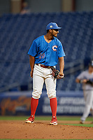 Clearwater Threshers relief pitcher Gustavo Armas (29) during a Florida State League game against the Tampa Tarpons on April 18, 2019 at Spectrum Field in Clearwater, Florida.  Clearwater defeated Tampa 10-3.  (Mike Janes/Four Seam Images)