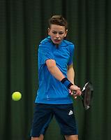 Rotterdam, The Netherlands, 07.03.2014. NOJK ,National Indoor Juniors Championships of 2014, Ronetto van Tilburg (NED)<br /> Photo:Tennisimages/Henk Koster