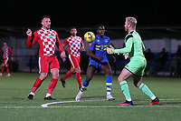 Harry Girling of Tilbury denies Usoman Tunkara of Romford during Romford vs Tilbury, Pitching In Isthmian League North Division Football at Mayesbrook Park on 29th September 2021