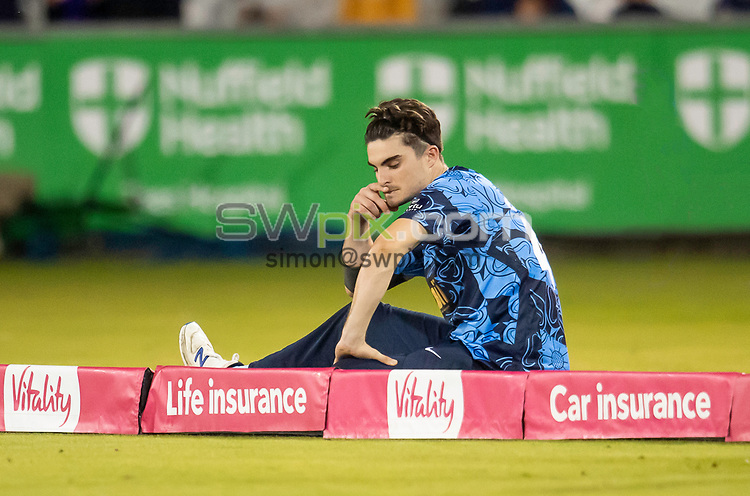 Picture by Allan McKenzie/SWpix.com - 24/08/2021 - Cricket - Vitality Blast Quarter Final - Yorkshire Vikings v Sussex Sharks - Emirates Durham ICG, Chester-le-Street, England - The Vikings's Jordan Thompson is dejected after his side's loss to the Sussex Sharks.