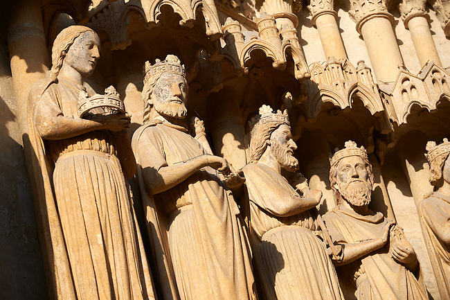 Gothic  statues of the Kings of France on the facade of the Gothic Cathedral of Notre-Dame, Amiens, France