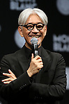 """December 21, 2016, Tokyo, Japan - Japanese composer Ryuichi Sakamoto, a member of the Yellow Magic Orchestra (YMO) speaks after he received Montblanc de la Culture Arts Patronage Award in Tokyo on Wednesday, December 21, 2016. Sakamoto played his screen music """"Merry Christmas Mr. Lawrence"""" with young musicians.  (Photo by Yoshio Tsunoda/AFLO) LWX -ytd-"""