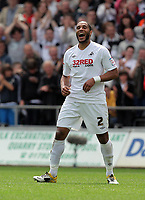 Pictured: Ashley Williams celebrating his second goal. Saturday 07 May 2011<br /> Re: Swansea City FC v Sheffield United, npower Championship at the Liberty Stadium, Swansea, south Wales.