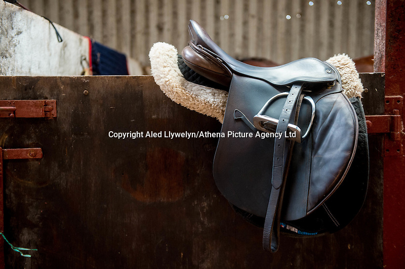FAO Laura Lean.<br /> Friday 20 January 2017<br /> Pictured: A saddle on the stable door. <br /> Re: Sue Scourfield's riding school is  being hit by increasing business rates.
