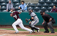 Joey Hawkins (7) of the Missouri State Bears follows through his swing during a game against the Northwestern Wildcats at Hammons Field on March 9, 2013 in Springfield, Missouri. (David Welker/Four Seam Images)
