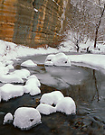 Starved Rock State Park, IL<br /> Snow on Armstrong Creek under the sandstone wall of Illinois Canyon