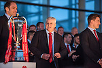 Wales's national rugby team who won both the Six Nations and the Grand Slam are welcomed to the National Assembly for Wales Senedd building in Cardiff Bay today for a public celebration event. Coach Warren Gatland, Captain Alun Wyn Jones and Jonathan Davies.