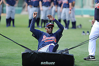 Infielder Carlos Franco (46) of the Atlanta Braves farm system in a Minor League Spring Training sliding drill on Monday, March 16, 2015, at the ESPN Wide World of Sports Complex in Lake Buena Vista, Florida. (Tom Priddy/Four Seam Images)