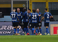 Calcio, Serie A: Inter Milano - Atalanta, Giuseppe Meazza (San Siro) stadium, in Milan, March 8, 2021.  <br /> Inter's Milan Skriniar (second R) celebrates after scoring with his teammates  during the Italian Serie A football match between Inter and Atalanta at Giuseppe Meazza (San Siro) stadium, on  March 8, 2021.  <br /> UPDATE IMAGES PRESS/Isabella Bonotto