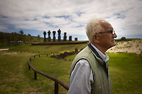 Rapa Nui, Easter island, oct 2011. Valentin Riroroko (79) elegido Rey de Rapa Nui, visitando el sector de Anakena. In Rapa Nui, also called Easter Island, the  king of the original people is back after a hundred years RirorokoTuki Valentino, the new monarch, is  an old man who has made his living as a farmer and fisherman and  traveled the world as a ship´s stowaways . <br /> He lives in a modest house in a rural area of the island near their 8 children and 24grandchildren.<br /> He was proclaimed King by the Assembly of Rapa Nui in July, and his reign has aunique purpose:  to finish with the Treaty of Wills from  1888, by which Chile took possession of Easter Island. The demand for Valentino and people ask seeks for Independence and also a billionare suit against Chilean state  for a century of apartheid and discrimination.