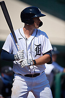Detroit Tigers Ryan Kreidler (60) on deck during a Florida Instructional League intrasquad game on October 17, 2020 at Joker Marchant Stadium in Lakeland, Florida.  (Mike Janes/Four Seam Images)