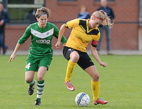 20151024 - ZWEVEZELE , BELGIUM : Eva Deparck (r) pictured with Charlotte Van Wynsberghe (left) during a soccer match between the women teams of SKV Zwevezele Ladies and KSOC Maria Ter Heide  , during the eight matchday in the Third League - Derde Nationale season, Saturday 24 October 2015 . PHOTO DAVID CATRY