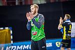 Dank an die Fans / Enttaeuscht / Johannes Bitter (TVB Stuttgart #1) ; BGV Handball Cup 2020 Halbfinaltag: TVB Stuttgart vs. HBW Balingen-Weilstetten am 11.09.2020 in Ludwigsburg (MHPArena), Baden-Wuerttemberg, Deutschland<br /> <br /> Foto © PIX-Sportfotos *** Foto ist honorarpflichtig! *** Auf Anfrage in hoeherer Qualitaet/Aufloesung. Belegexemplar erbeten. Veroeffentlichung ausschliesslich fuer journalistisch-publizistische Zwecke. For editorial use only.