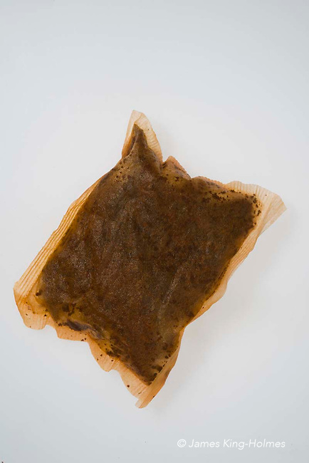 Used tea-bag of ordinary British tea. The tea used is usually a blend of different teas, with the fibres cut very short to allow maximum exposure to the boiling water and so shorten the infusion  time.
