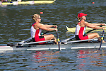 Rowing, 2011 FISA World Rowing Championships, Lake Bled, Bled, Slovenia, Europe, Rowing Canada Aviron, W2x, woman's double, Kerry Shaffer (Welland, ON) South Niagara RC, Emily Cameron (Summerside, PEI) Don RC stroke,