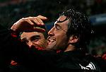 Bayern Munich's Luca Toni celebrating with Lucio during UEFA Cup match, April 03, 2008. (ALTERPHOTOS/Alvaro Hernandez)