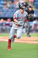 Greenville Drive Nick Sogard (11) runs to first base during a game against the Asheville Tourists on July 14, 2021 at McCormick Field in Asheville, NC. (Tony Farlow/Four Seam Images)