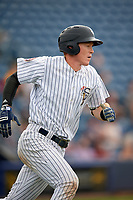 Staten Island Yankees first baseman Eric Wagaman (22) runs to first base during a game against the Lowell Spinners on August 22, 2018 at Richmond County Bank Ballpark in Staten Island, New York.  Staten Island defeated Lowell 10-4.  (Mike Janes/Four Seam Images)
