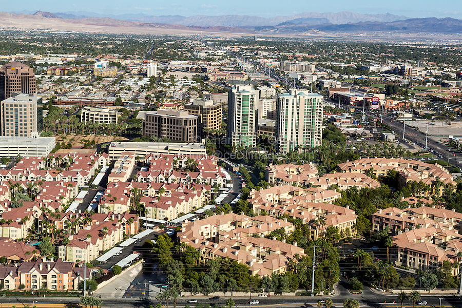 Las Vegas, Nevada.  Urban Development and the Las Vegas Valley as seen from the High Roller, World's Tallest Observation Wheel as of 2015.  Koval Lane at Bottom of Picture.