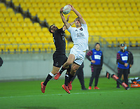 South's Will Jordan takes a cross kick to score the wining try during the rugby match between North and South at Sky Stadium in Wellington, New Zealand on Saturday, 5 September 2020. Photo: Dave Lintott / lintottphoto.co.nz