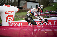 CX world champion Mathieu Van der Poel (NED/Alpecin-Fenix)<br /> <br /> 2021 UCI CX World Cup Overijse (BEL)<br /> Vlaamse Druivencross<br /> <br /> Men's Race<br /> <br /> ©kramon