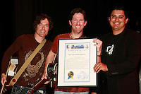 Chris and Eric Reading, originally from San Diego, accept a proclomation from the San Diego Council making March 27 2008 offical Chris and Eric Reading Day from District 8 Councilman Ben Hueso after theri show at Dana Middle School in Point Loma, Thursday March 27th 2008.  The show was the first one of the Tour 4 Cure series and Chris Reading Scholarship Fund.