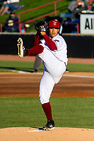 Wisconsin Timber Rattlers starting pitcher Victor Castaneda (21) delivers a pitch during a game against the Beloit Snappers on May 4, 2021 at Neuroscience Group Field at Fox Cities Stadium in Grand Chute, Wisconsin.  (Brad Krause/Four Seam Images)