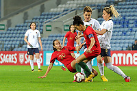 20200304 Faro , Portugal : Portugese midfielder Andreia Faria (20) , Portugese midfielder Claudia Neto (7) , Italian forward Cristiana Girelli (10) , Italian midfielder Martina Rosucci (8) pictured during the female football game between the national teams of Portugal and Italy on the first matchday of the Algarve Cup 2020 , a prestigious friendly womensoccer tournament in Portugal , on wednesday 4 th March 2020 in Faro , Portugal . PHOTO SPORTPIX.BE   STIJN AUDOOREN