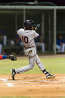 AZL Indians 2 second baseman Gionti Turner (10) swings at a pitch during an Arizona League game against the AZL Cubs 2 at Sloan Park on August 2, 2018 in Mesa, Arizona. The AZL Indians 2 defeated the AZL Cubs 2 by a score of 9-8. (Zachary Lucy/Four Seam Images)