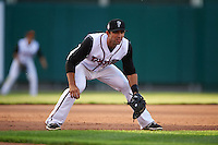 Lansing Lugnuts third baseman Jason Leblebijian (11) during a game against the Peoria Chiefs on June 6, 2015 at Cooley Law School Stadium in Lansing, Michigan.  Lansing defeated Peoria 6-2.  (Mike Janes/Four Seam Images)
