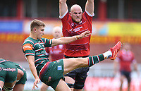 30th August 2020; Kingsholm Stadium, Gloucester, Gloucestershire, England; English Premiership Rugby, Gloucester versus Leicester Tigers; Jack Van Poortvliet of Leicester Tigers clears the ball under pressure from Matt Garvey of Gloucester