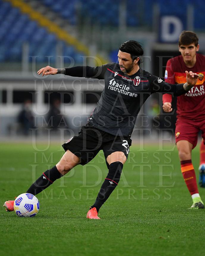 Football, Serie A: AS Roma - Bologna, Olympic stadium, Rome, April 11, 2021. <br /> Roma's Bruno Peres in action during the Italian Serie A football match between AS Roma and Bologna at Rome's Olympic stadium, Rome, on April 11, 2021.  <br /> UPDATE IMAGES PRESS/Isabella Bonotto