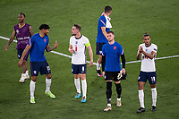 3rd July 2021, Stadio Olimpico, Rome, Italy;  Euro 2020 Football Championships, England versus Ukraine quarter final;  Jordan Henderson England with Tyrone Mings England after the match