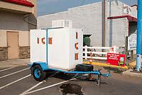 Sky Motel vintage neon sign - Ice Freezer at gas station - Drummond MT - 29 Jul 2021