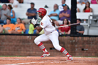 Johnson City Cardinals right fielder Ricardo Bautista (25) swings at a pitch during a game against the Kingsport Mets on June 25, 2015 in Johnson City, Tennessee. The Mets defeated the Cardinals 10-8 (Tony Farlow/Four Seam Images)
