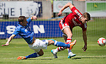 Aberdeen v St Johnstone...28.06.15  Glebe Park, Brechin..Pre-Season Friendly<br /> Steven MacLean steals the ball from Ash Taylor<br /> Picture by Graeme Hart.<br /> Copyright Perthshire Picture Agency<br /> Tel: 01738 623350  Mobile: 07990 594431