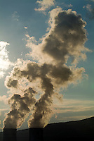 Smoke emitting from cooling towers of Tricastin Nuclear Power Plant, Drome, France.