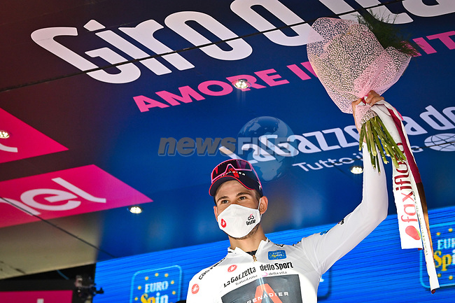 Race leader Filippo Ganna (ITA) Ineos Grenadiers also retains the young riders Maglia Bianca at the end of Stage 2 of the 103rd edition of the Giro d'Italia 2020 running 149km from Alcamo to Agrigento, Sicily, Italy. 4th October 2020.  <br /> Picture: LaPresse/Massimo Paolone | Cyclefile<br /> <br /> All photos usage must carry mandatory copyright credit (© Cyclefile | LaPresse/Massimo Paolone)
