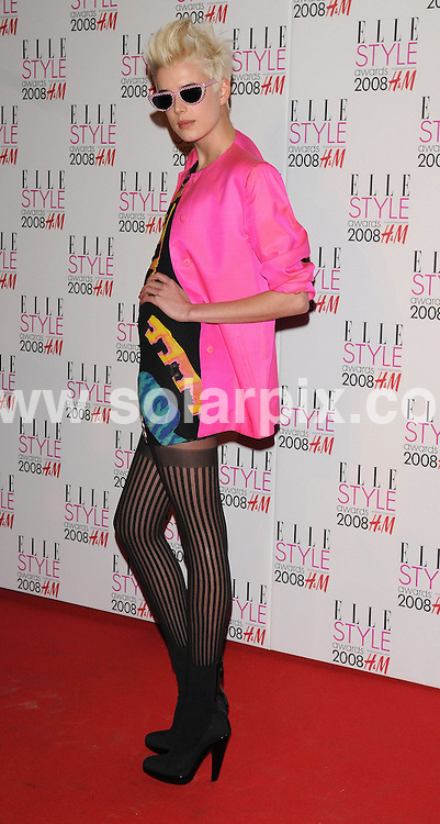 **ALL ROUND PICTURES FROM SOLARPIX.COM**.**WORLDWIDE SYNDICATION RIGHTS**.Celebrities arrive for the Elle Style Awards at The Roundhouse, London. 12th February 2008..This pic: Agyness Deyn..JOB REF: 5777 ATM     DATE: 12_02_2008.**MUST CREDIT SOLARPIX.COM OR DOUBLE FEE WILL BE CHARGED* *UNDER NO CIRCUMSTANCES IS THIS IMAGE TO BE REPRODUCED FOR ANY ONLINE EDITION WITHOUT PRIOR PERMISSION*