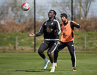 (L-R) Bafetimbi Gomis and Wayne Routledge during the Swansea City FC training at Fairwood, Swansea, Wales, UK on Wednesday 04 May 2016